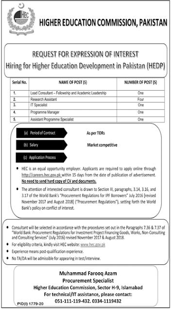 Higher Education Commission HEC Job Advertisement in Pakistan - Apply Online - careers.hec.gov.pk