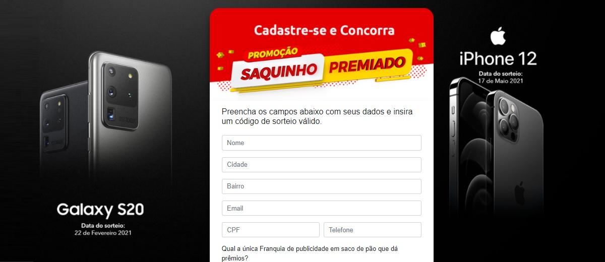 Promoção Premiapão 2021 Sorteio iPhone 12 e Galaxy S20 Saquinho Premiado Hoje é Dia de Sorte - Cadastrar