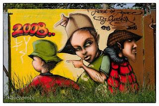 három sapkás alak graffiti Szegeden a körtöltésen