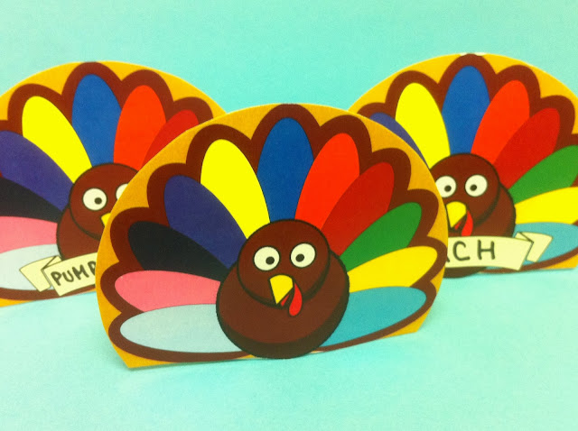 Printable Turkey Napkin Place Card Holders