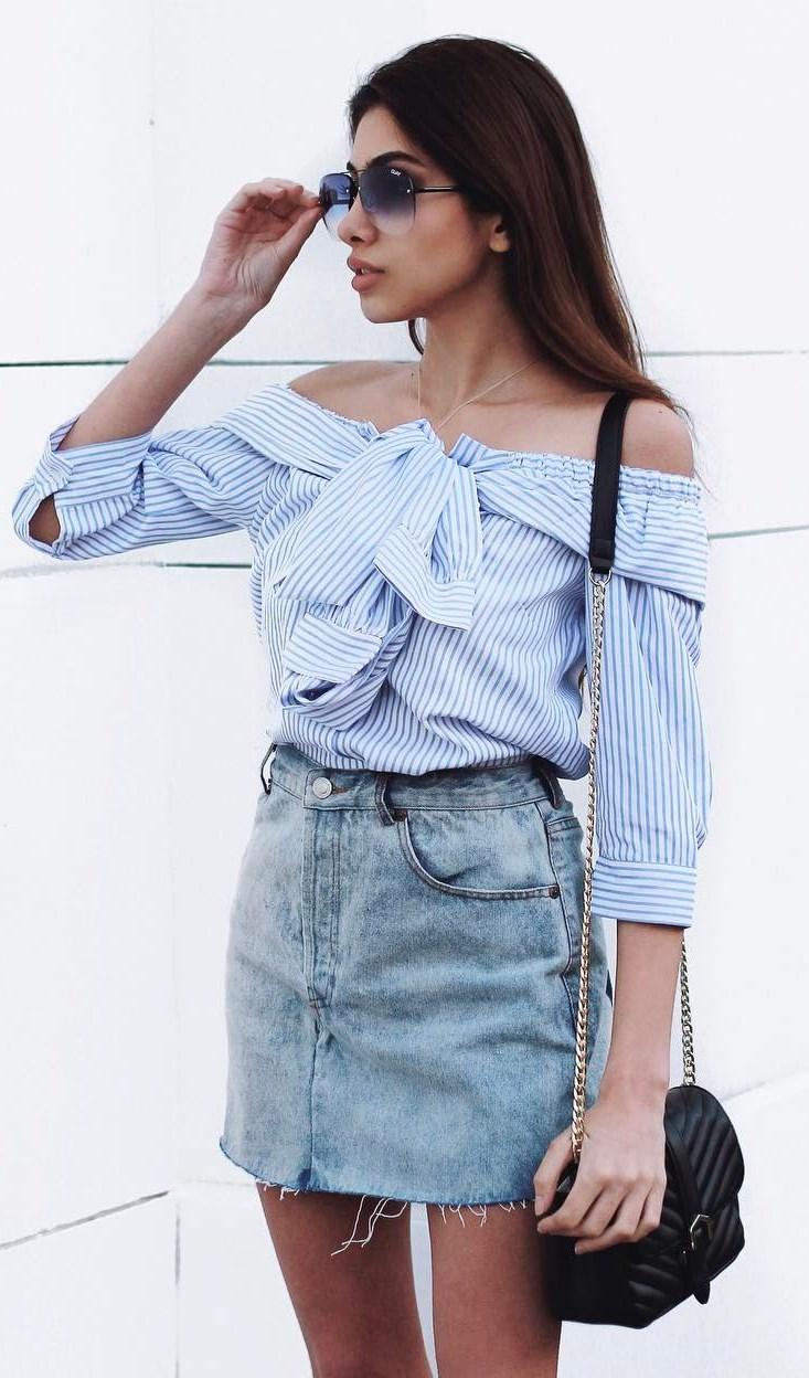 trendy ootd: shirt + denim skirt + bag