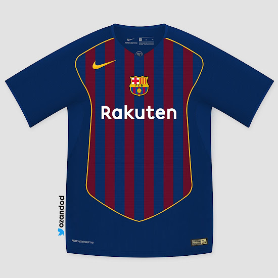 cca3e6955d5 The Nike Aeroswift Total 90 Barcelona home shirt concept features the  club's famous Blaugrana stripes just within the iconic T90 design on the  front.