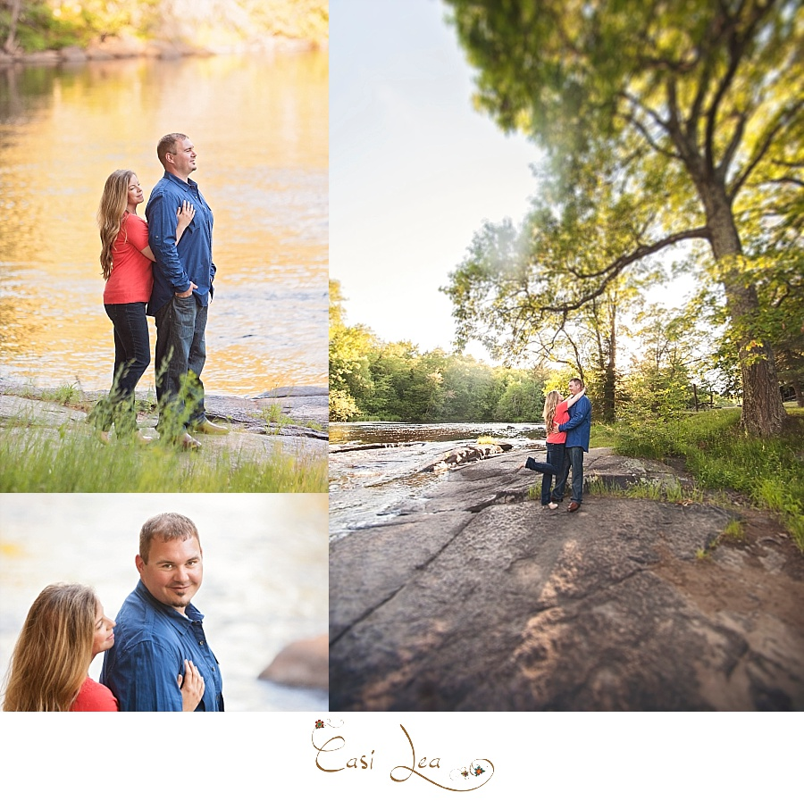 Rustic northwoods engagement session at campground by the river.  Wisconsin engagement session.