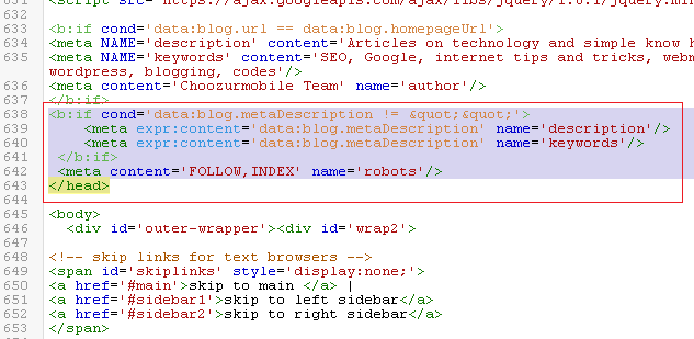 Adding meta codes in blogger template