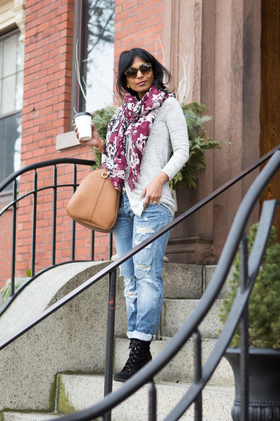 weekend style, casual outfit, ripped jeans, boyfriend jeans, ankle booties, long-line cardigan, floral scarf