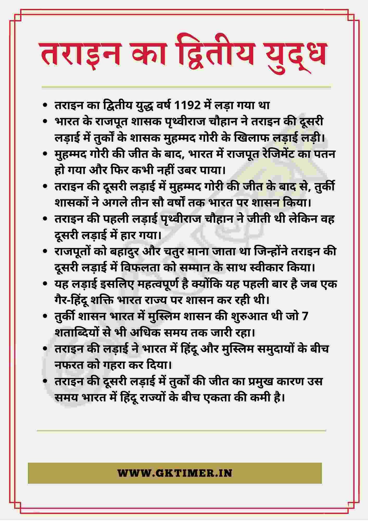 तराइन के द्वितीय युद्ध पर निबंध | Second Battle of Tarain Essay in Hindi | 10 Lines on Second Battle of Tarain in Hindi