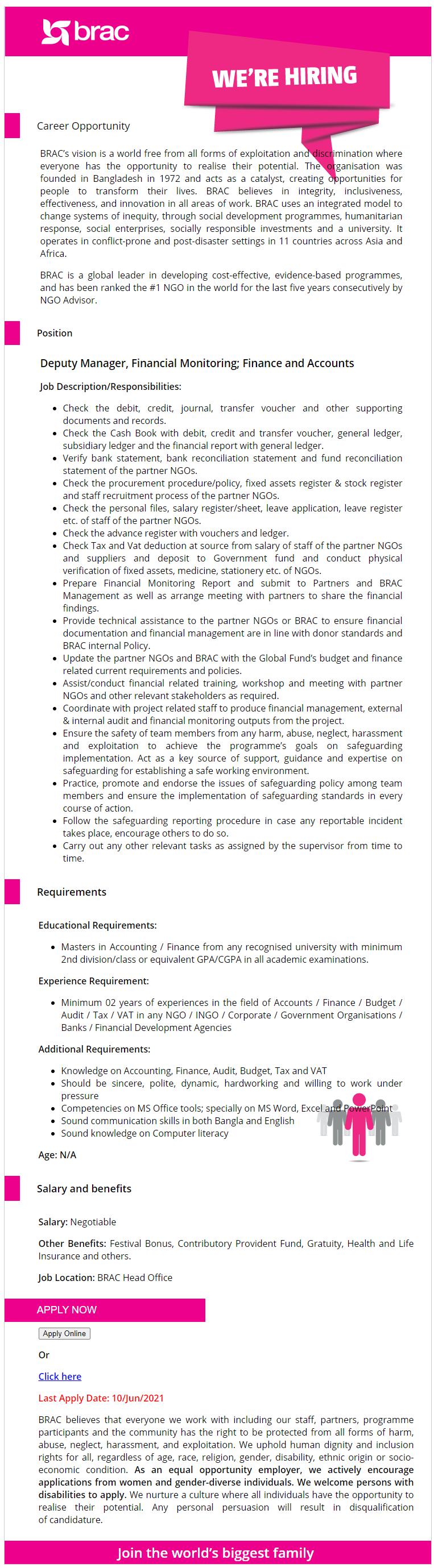 ব্র্যাক এনজিও চাকরির নিয়োগ সার্কুলার ২০২১ - BRAC NGO Job Recruitment Circular 2021
