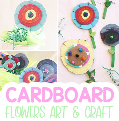 flower art and craft using cardboard