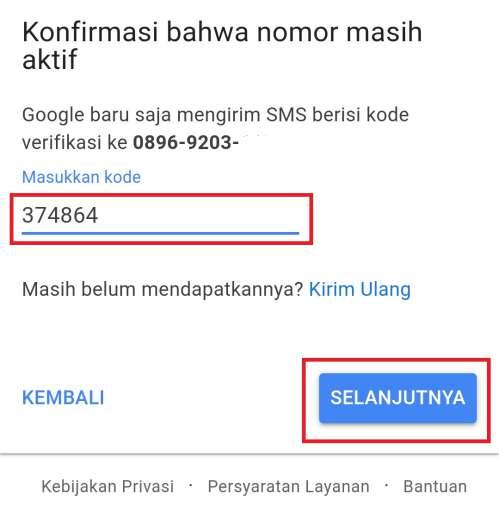 kolom untuk memasukkan kode sms dari Google