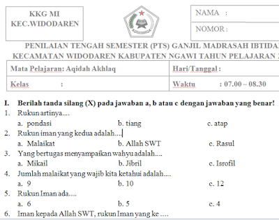 Download Soal PTS/UTS Aqidah Akhlaq Kelas 1 Madrasah Ibtidaiyah Semester Ganjil Kurikulum 2013