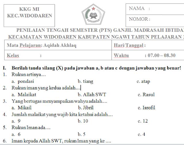 Soal PTS/UTS Aqidah Akhlaq Kelas 1 Madrasah Ibtidaiyah Semester Ganjil Kurikulum 2013