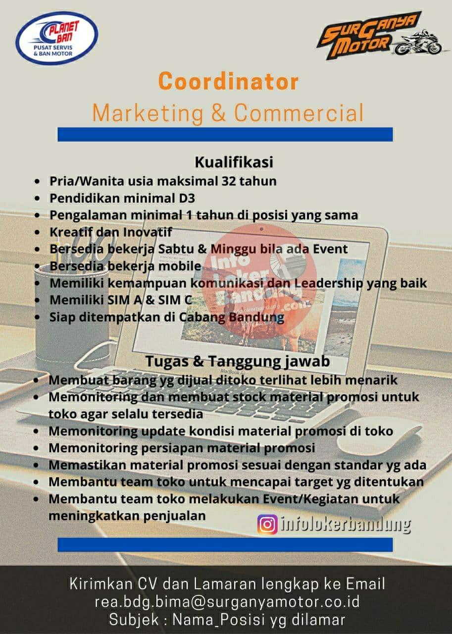 Lowongan Kerja Coordinator Marketing & Commercial Surganya Motor Bandung Desember 2020