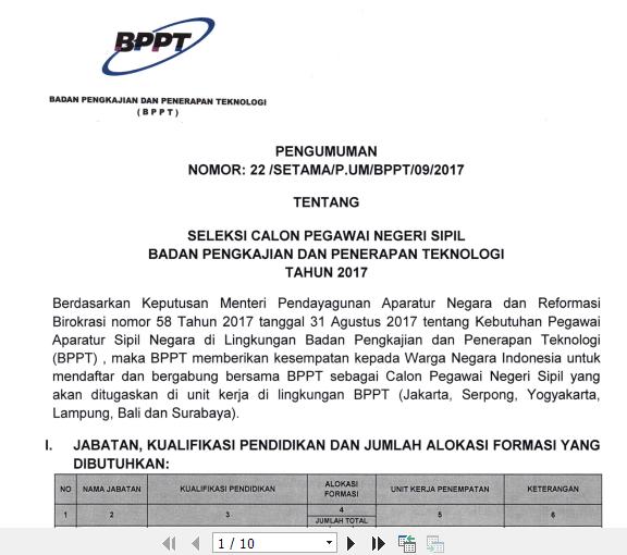 BPPT - Soal dan Pendaftaran CPNS Badan Pengkajian dan Penerapan Teknologi 2017