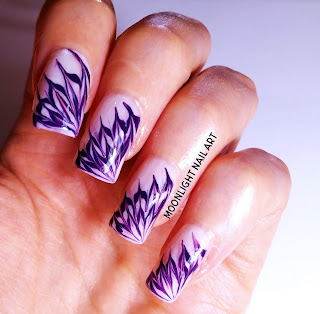 Dark Purple & White Drag marble Nail Design