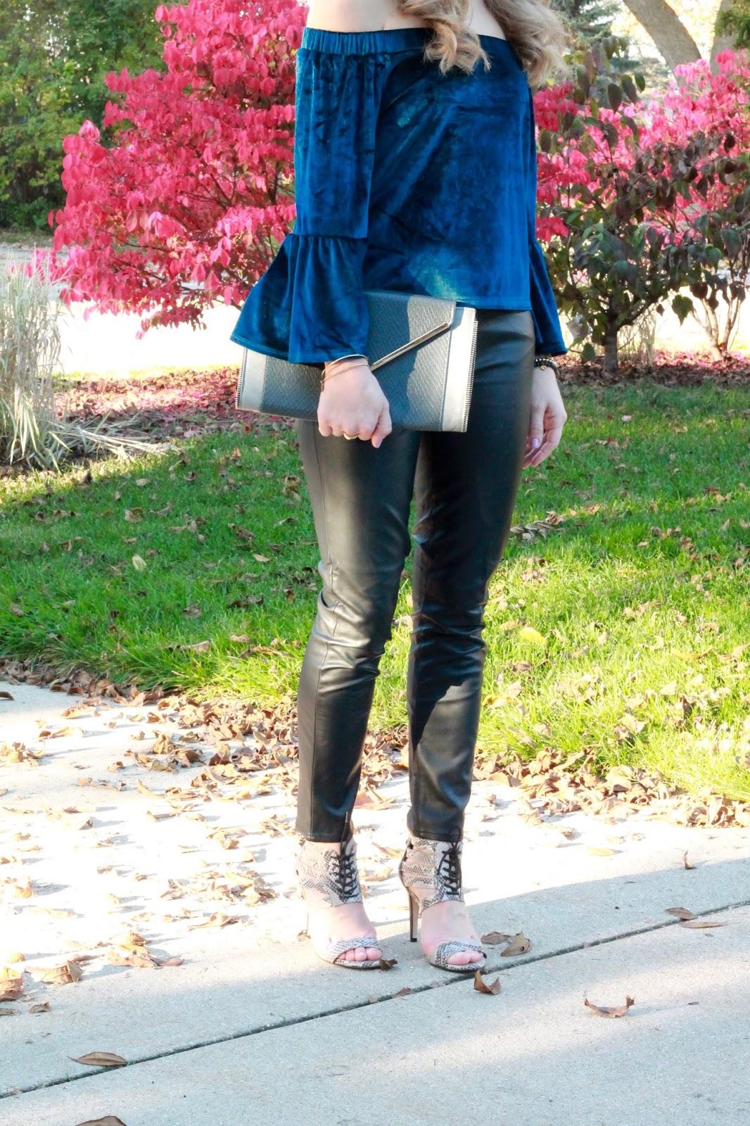 blue velvet off shoulder top, leather pants, snakeskin lace up heels, grey envelope clutch, choker necklace