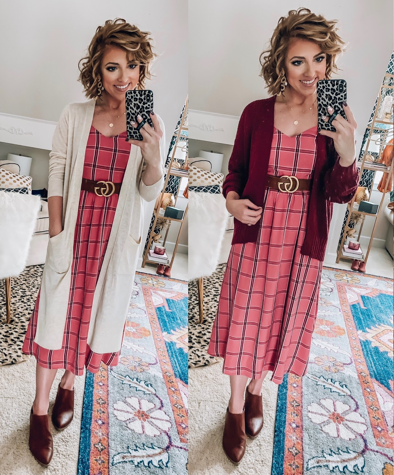 Old Navy Pink & Burgundy Plaid Midi Dress styled Four Ways  - Somethig Delightful Blog #affordablefashion