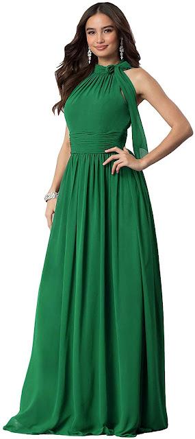 Long Green Chiffon Bridesmaid Dresses