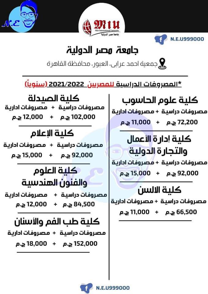 مصاريف جامعة مصر الدولية