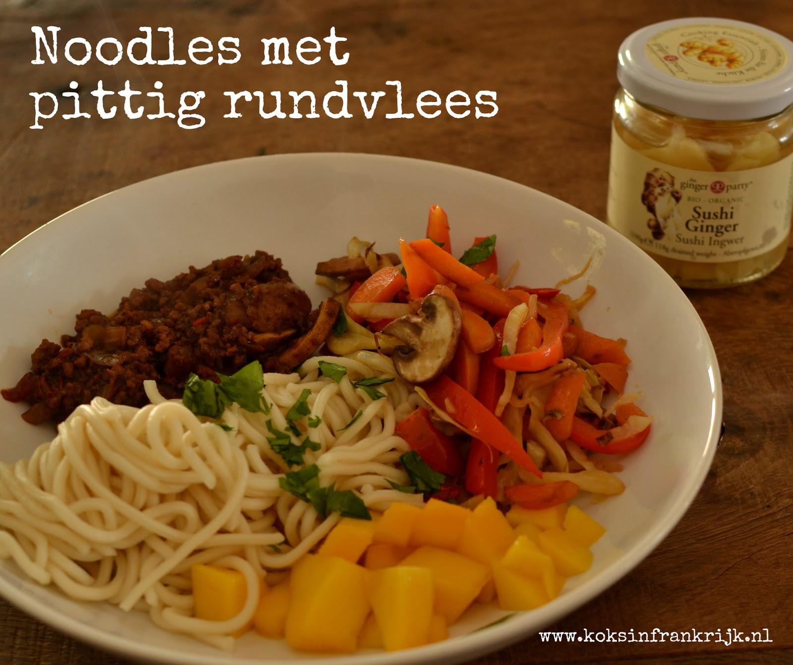 Pittig rundvlees met noodles en mango