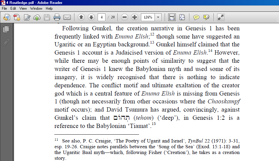 enuma elish creation story vs genesis