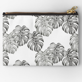 monstera leaf pattern zipper pouch