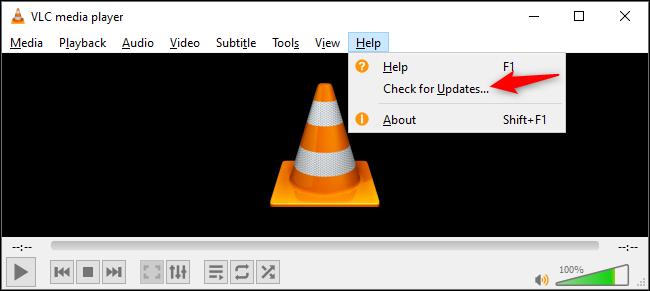 التحقق من وجود تحديثات في VLC على Windows
