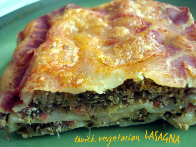 Quick vegetarian lasagna by Laka kuharica: A quick and easy version of everybody's favorite dish.