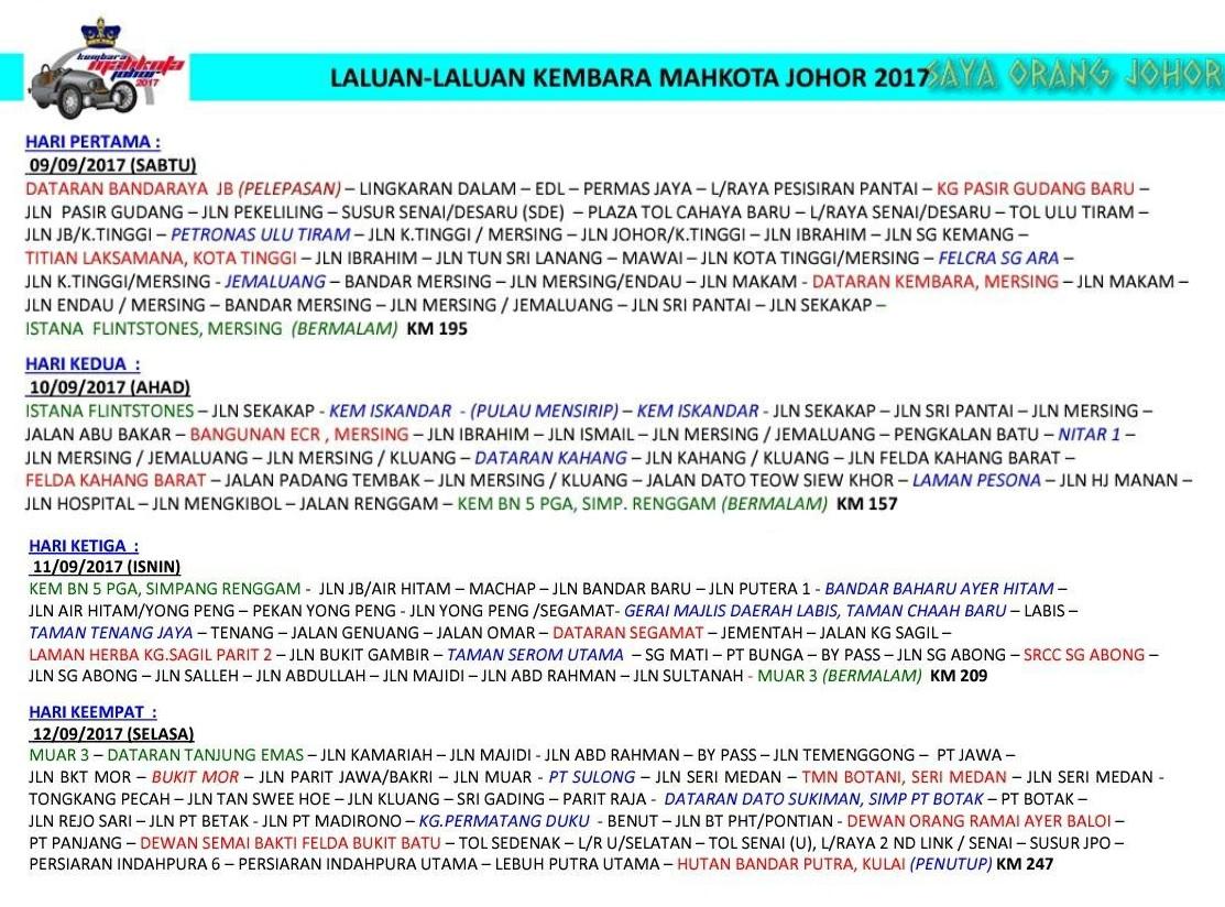 Senarai Laluan Dan Lokasi KMJ 2017