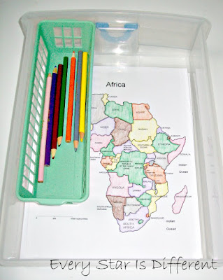 Montessori Map of Africa Coloring Activity