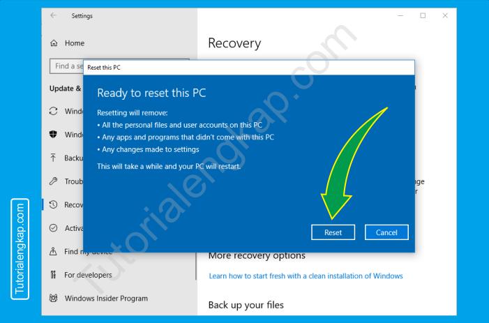8 tutorialengkap Cara reset windows 10 untuk mengembalikan ke pengaturan default