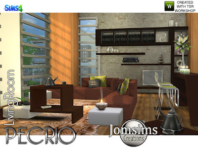 Pecrio Modern living room Pecrio Современная гостиная для The Sims 4 Pecrio современная гостиная. Модерн и комфорт.. для вашего интерьера. Чистые линии, простые и одинаково современные. 2 дивана. 2 кофейных столика. 1 разная поверхность мебели. найти в категории Разное поверхность. 1 systeme dvd audio.find в категории аудио. 1 новая ваза деко металл шесть цветов, найти в категории беспорядки. 1 современный бар и барная стойка с современными линиями. забавные цвета и металлическая текстура. чайный сервиз deco deco найти в категории беспорядок. А ты, поставь этот стол куда хочешь. Автор: jomsims