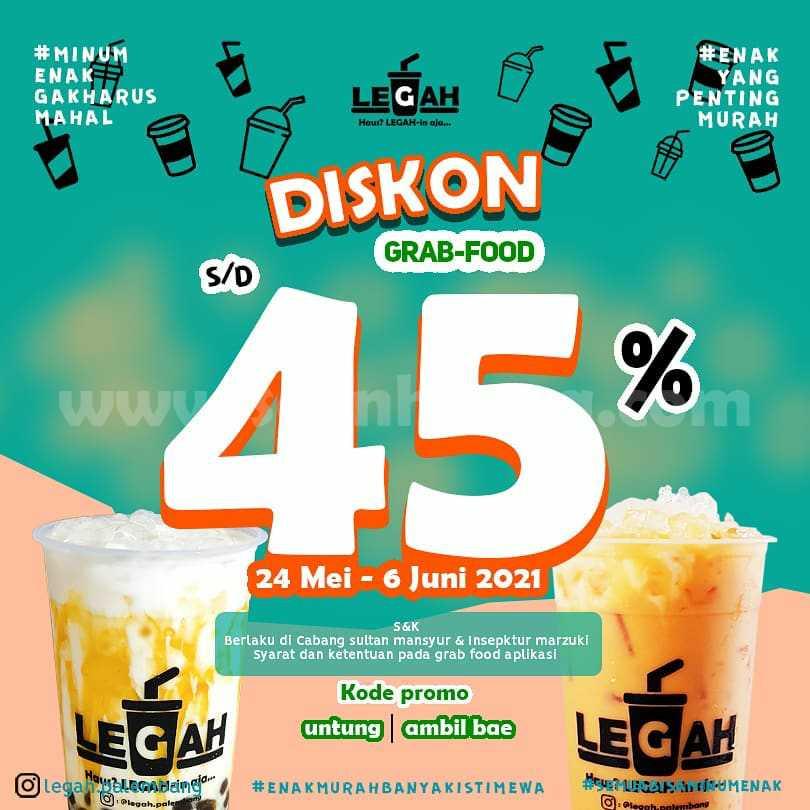 Promo LEGAH Diskon hingga 45% Order melalui GRABFOOD