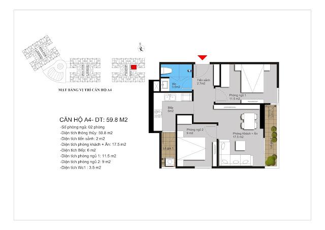 Mặt bằng căn A4 chung cư Hateco Xuân Phương