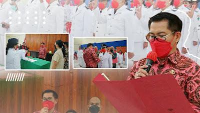 Dalam Rangka Penyegaran Birokrasi, Bupati Joune Ganda Lantik 48 Plt Hukum Tua Se-Minut