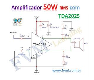 Circuito Amplificador de Potência 50W RMS com TDA2025
