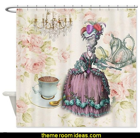 Marie Antoinette Paris floral tea party Shower curtain