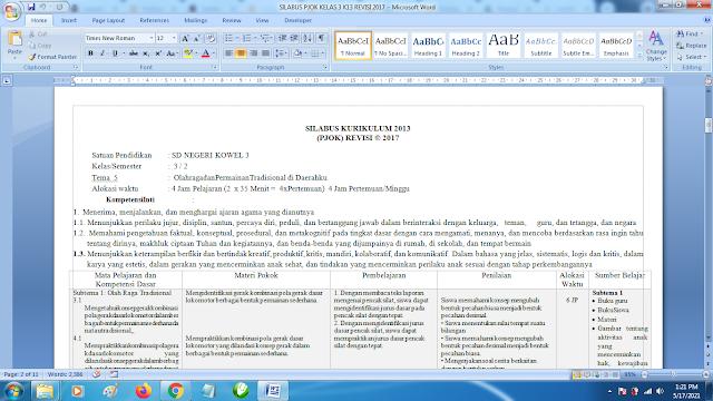 Contoh Format Silabus PJOK K13 Kelas 3 SD Semester 2 Revisi Terbaru