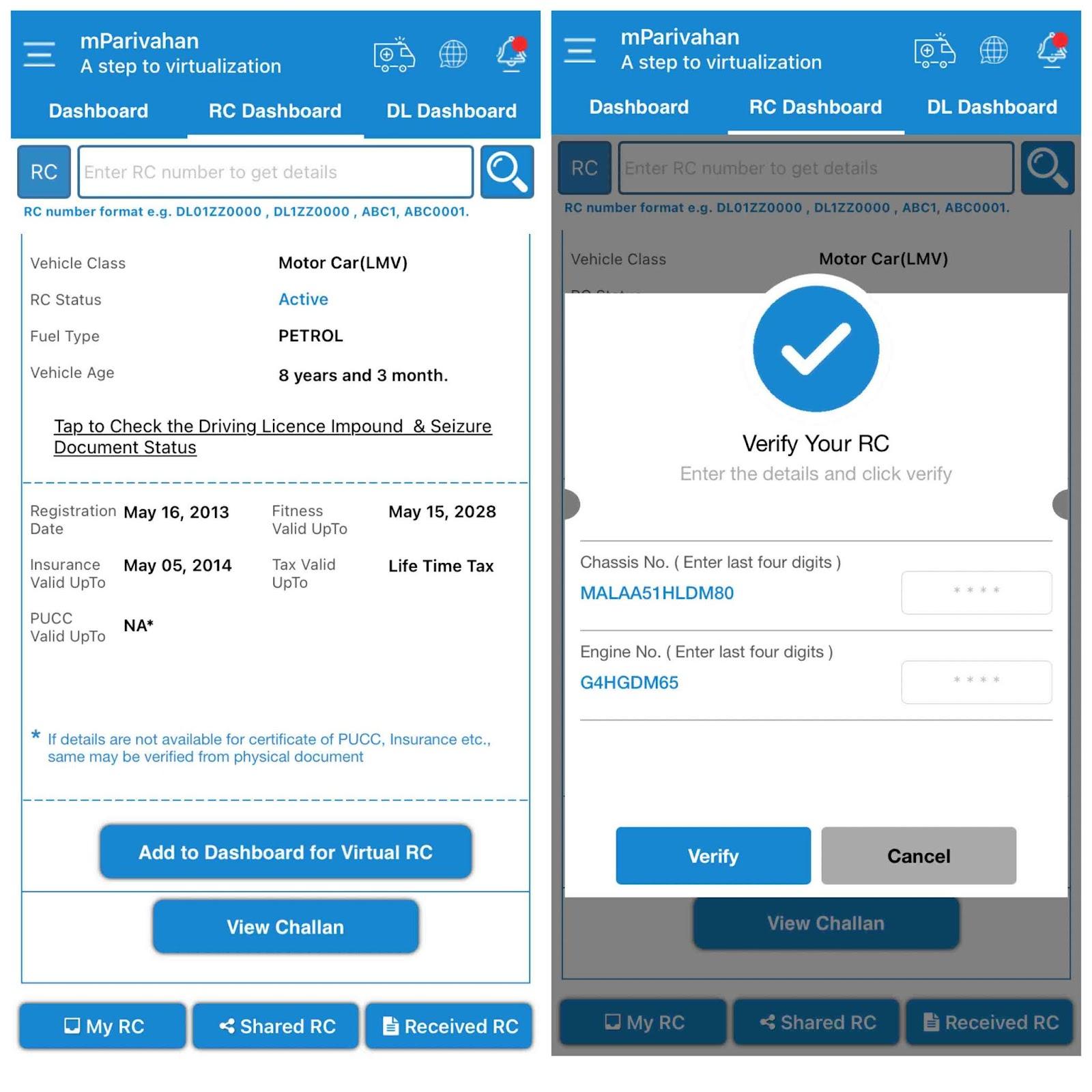 Add virtual RC to dashboard on mParivahan app