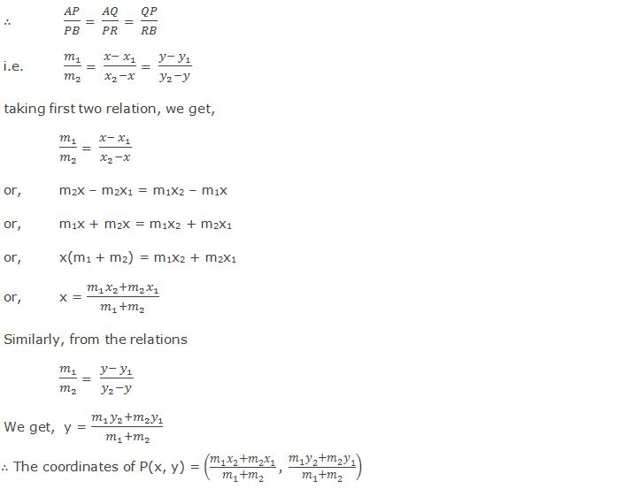 Section formula for internal division