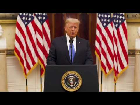President Donald Trump delivers farewell speech from White House