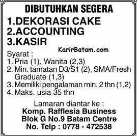 Lowongan Kerja Accounting dan kasir Rafflesia Business