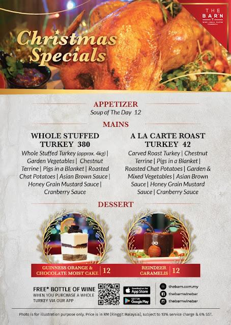 The Barn Seasonal Christmas Turkey Menu and Delicious Meat Platters