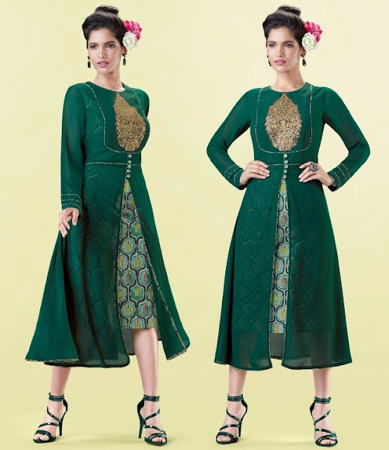 Juhari Fab Georgette Party wear long kurtis wholesaler