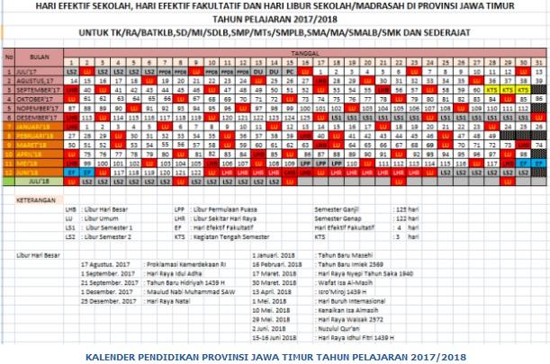 Download Kalender Pendidikan Tahun 2017 2018 Propinsi Jawa Timur Agenda Guru