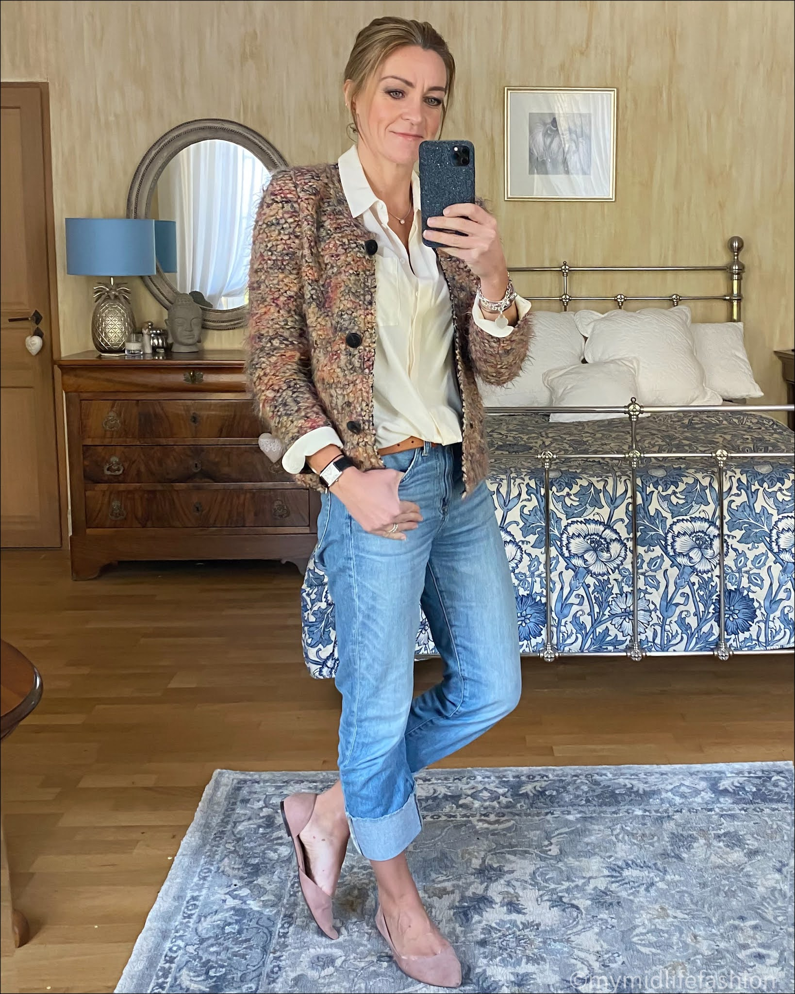 my midlife fashion, marks and Spencer silk shirt, iro knitted jacket, Massimo dutti leather belt, j crew turn up boyfriend jeans, hm ballet pumps
