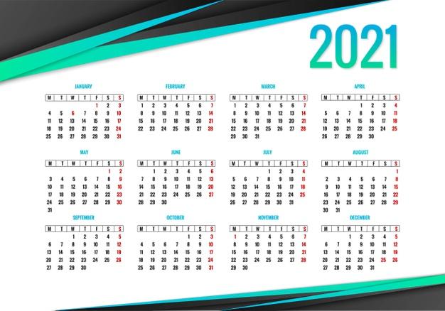Elegante calendario 2021 en vector
