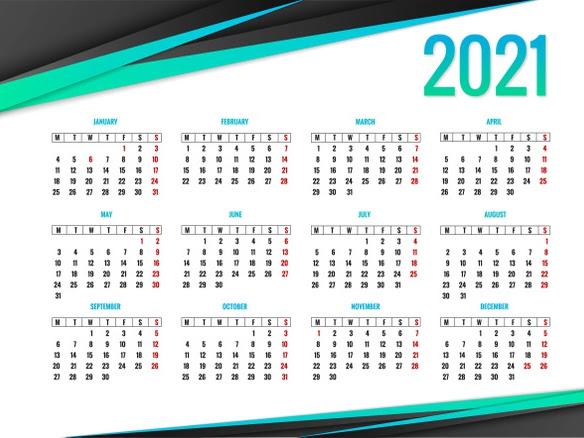 calendario 2021 verde