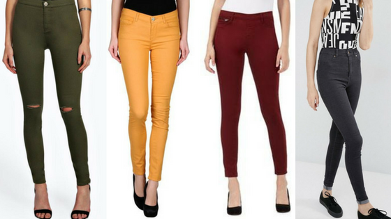 jeans, denim, trousers, bottoms, fashion, autumn, season, orange, tan, black, skinny jeans, skinnies