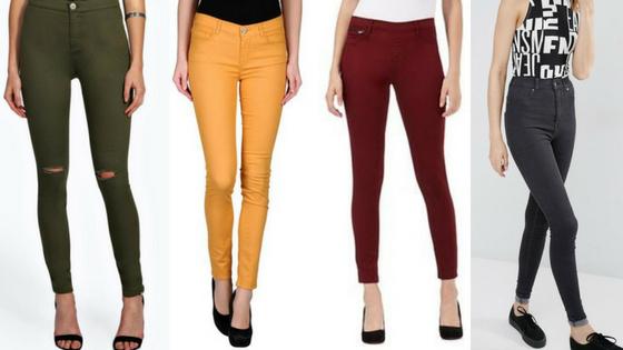 jeans, denim, trousers, bottoms, fashion, autumn, season, orange, tan, black, skinny jeans, skinnies