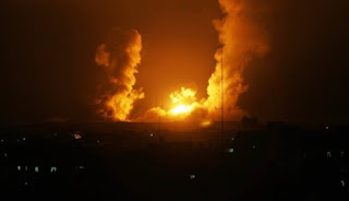Israeli warplanes launch heavy air raids on farmland east of Gaza